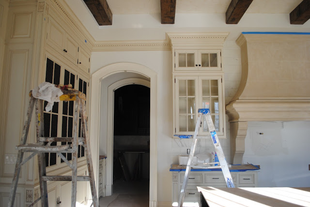 During construction of French Country kitchen in French chateau The Enchanted Home