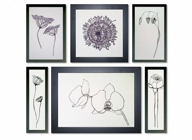 Flower Black & White Drawings