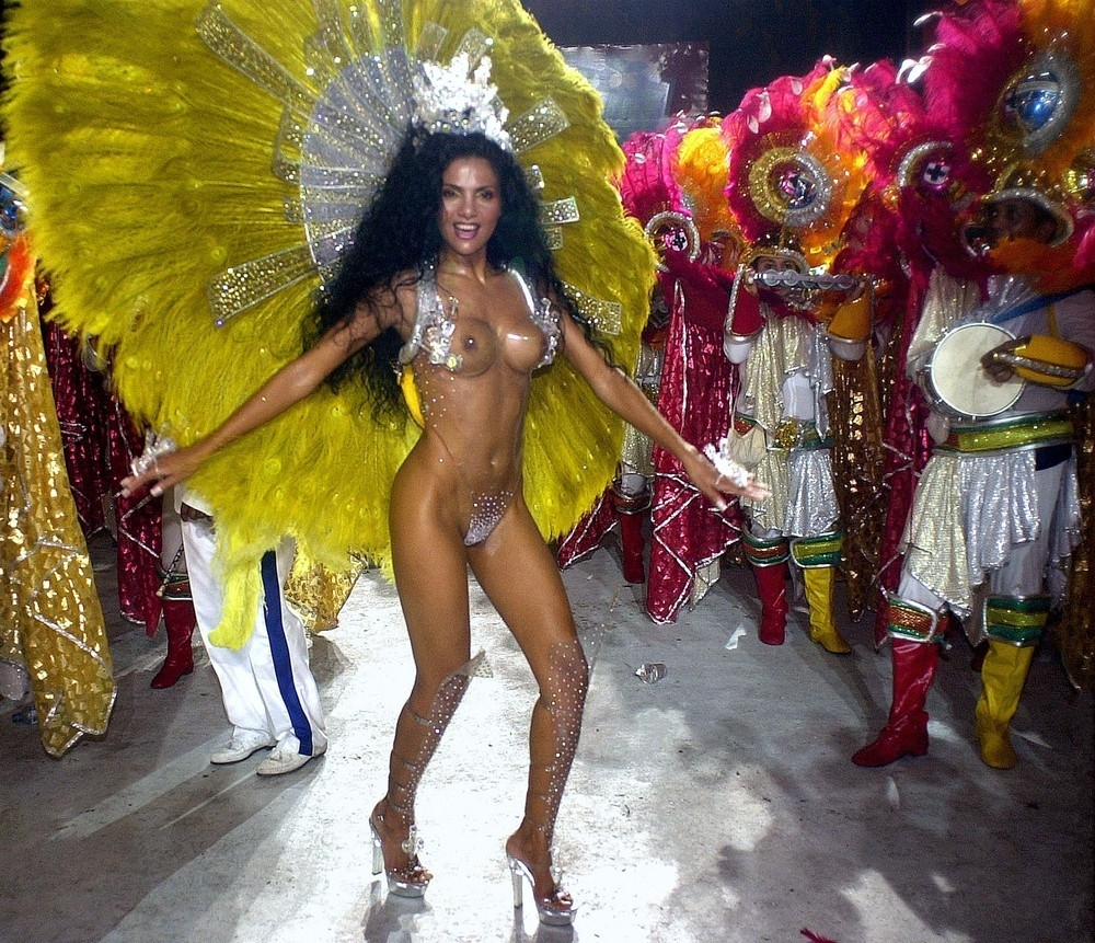 Fabia Borges, godmother of the School of Samba Unidos da Tijuca, participates in a Carnival parade February 11, 2002 in Rio de Janeiro, Brazil.