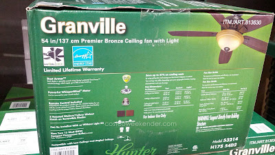 Hunter Granville 54 inch Ceiling Fan features remote control and light kit