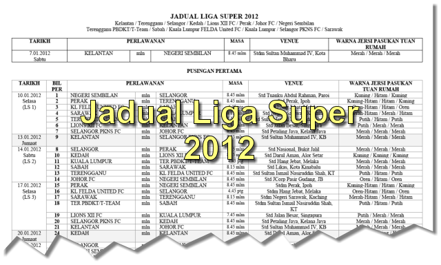 Jadual penuh perlawanan Liga Super 2012 (format pdf) sila muat turun