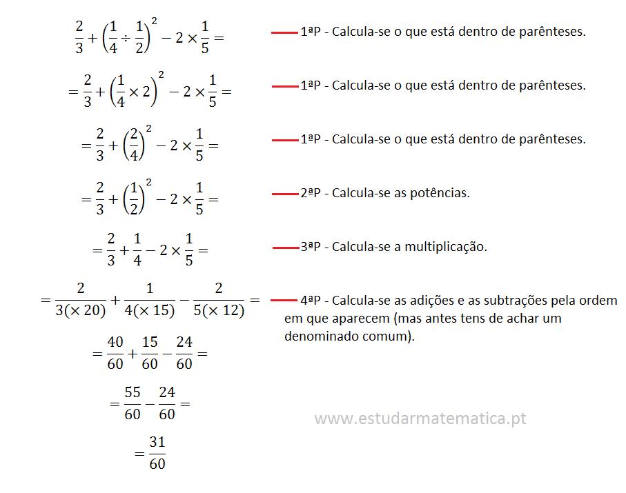 regras das expressões numéricas