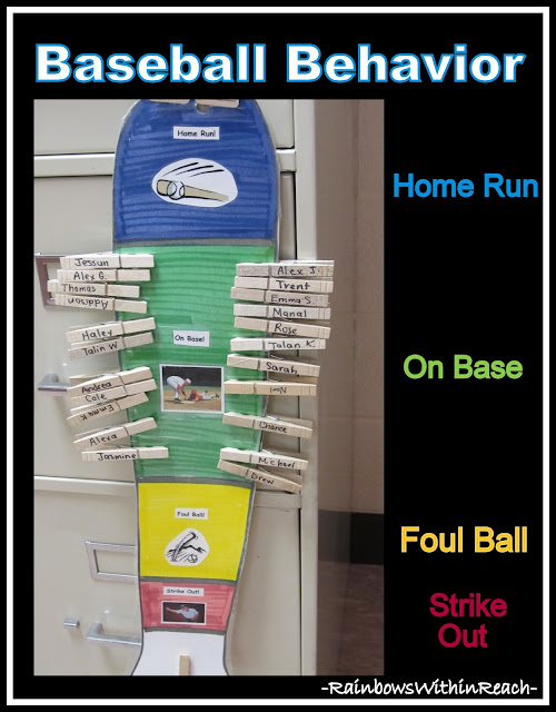 photo of: Behavior Chart Using a Baseball Theme (Behavior Chart RoundUP via RainbowsWithinReach)