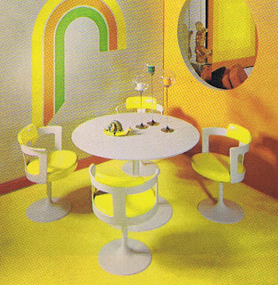 Lemony yellow and white dinette of a very mod design from 1971.