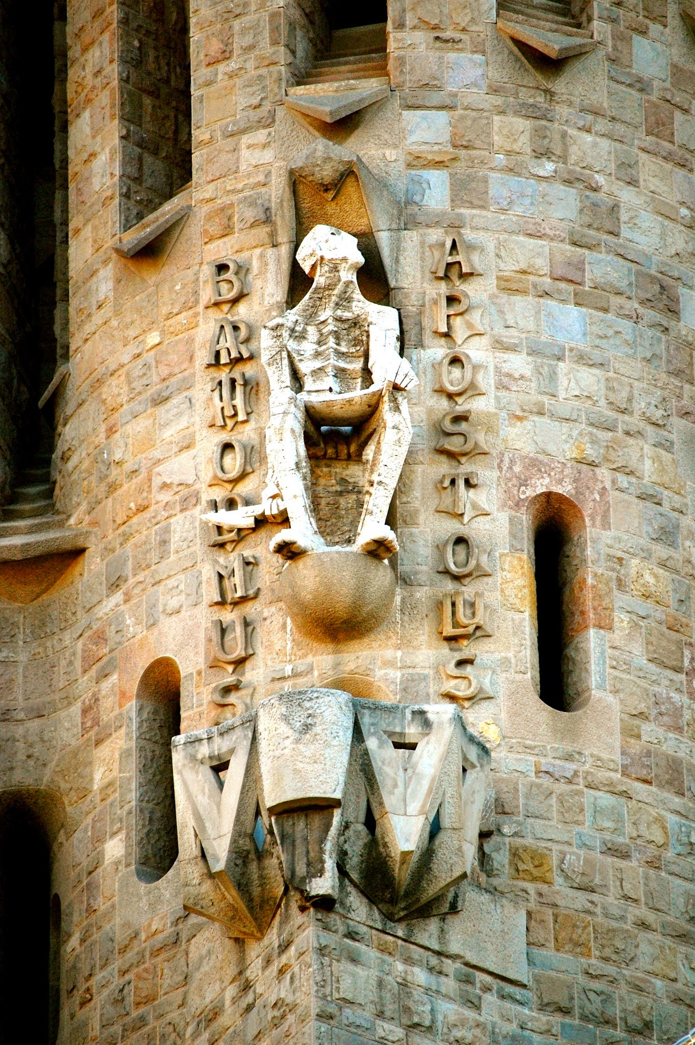 Carving of Apostle Bartholomew on Passion Facade, Sagrada Familia