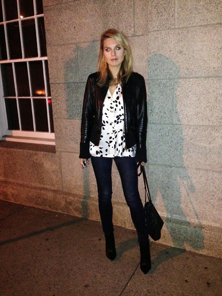 Dalmatian print vintage silk blouse