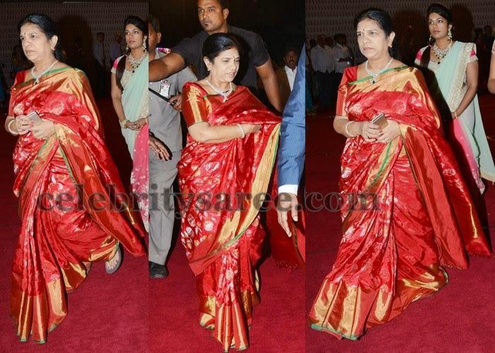 Surekha Chiranjeevi Red Uppada Saree