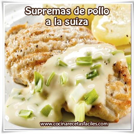 Recetas de pollo , supremas de pollo  a la suiza