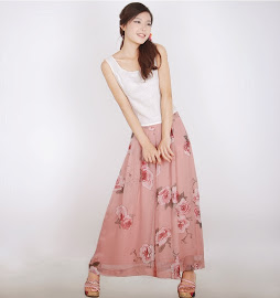 Vintage Rose Chiffon Long Pants