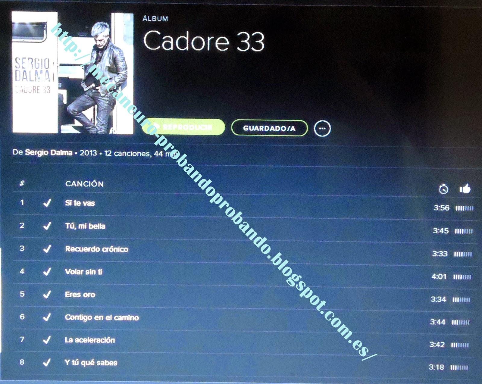 Cadore 33, el nuevo cd de Sergio Dalma