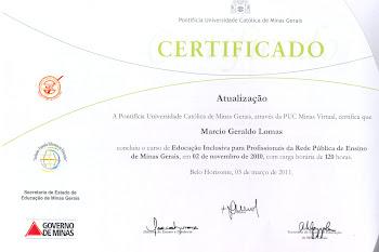 CERTIFICADO DE CURSO DE INCLUSÃO PELA PUC MG