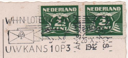towo Dutch stamps and postmark dated 1942
