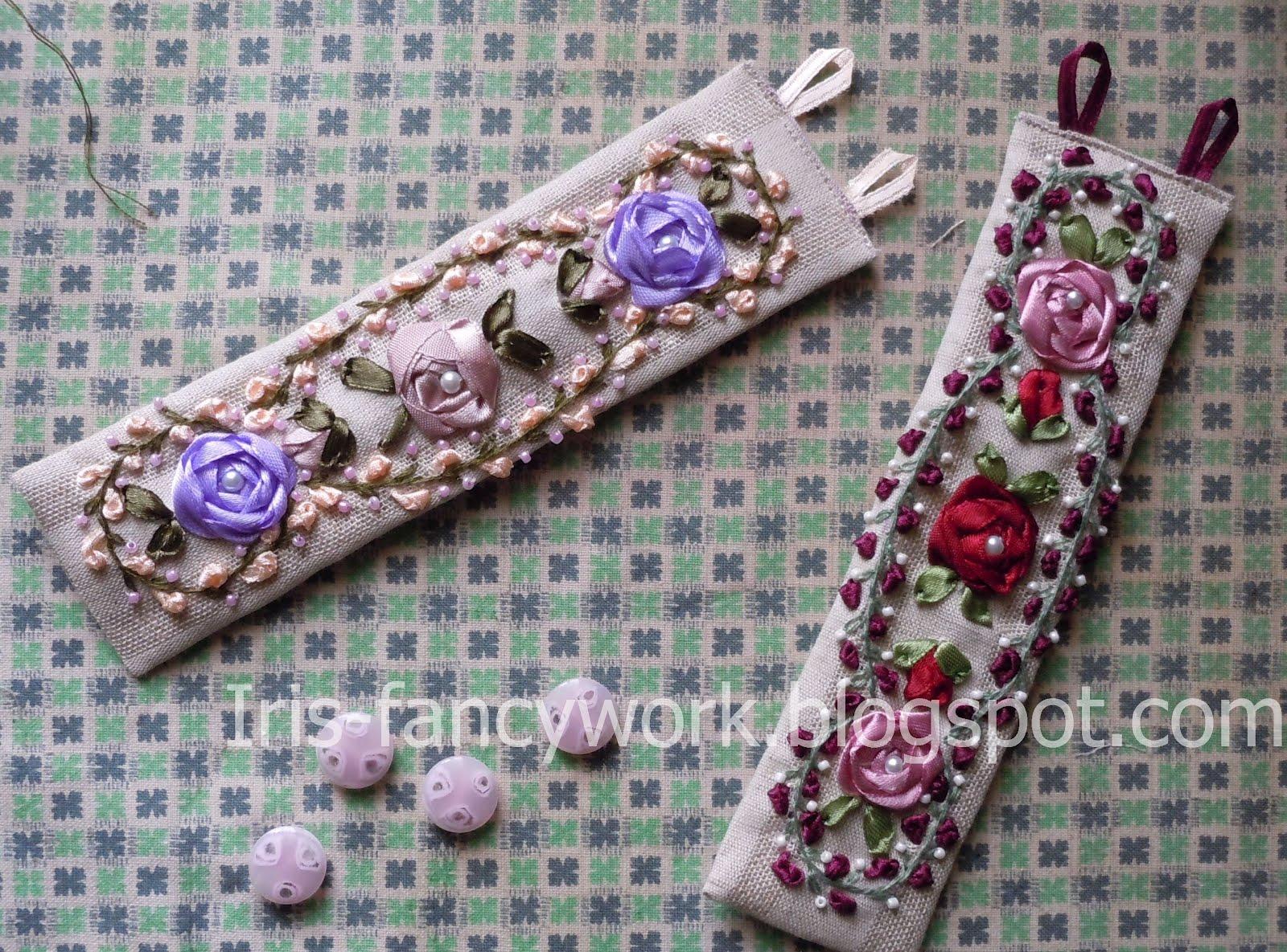 Браслеты из ткани с вышивкой