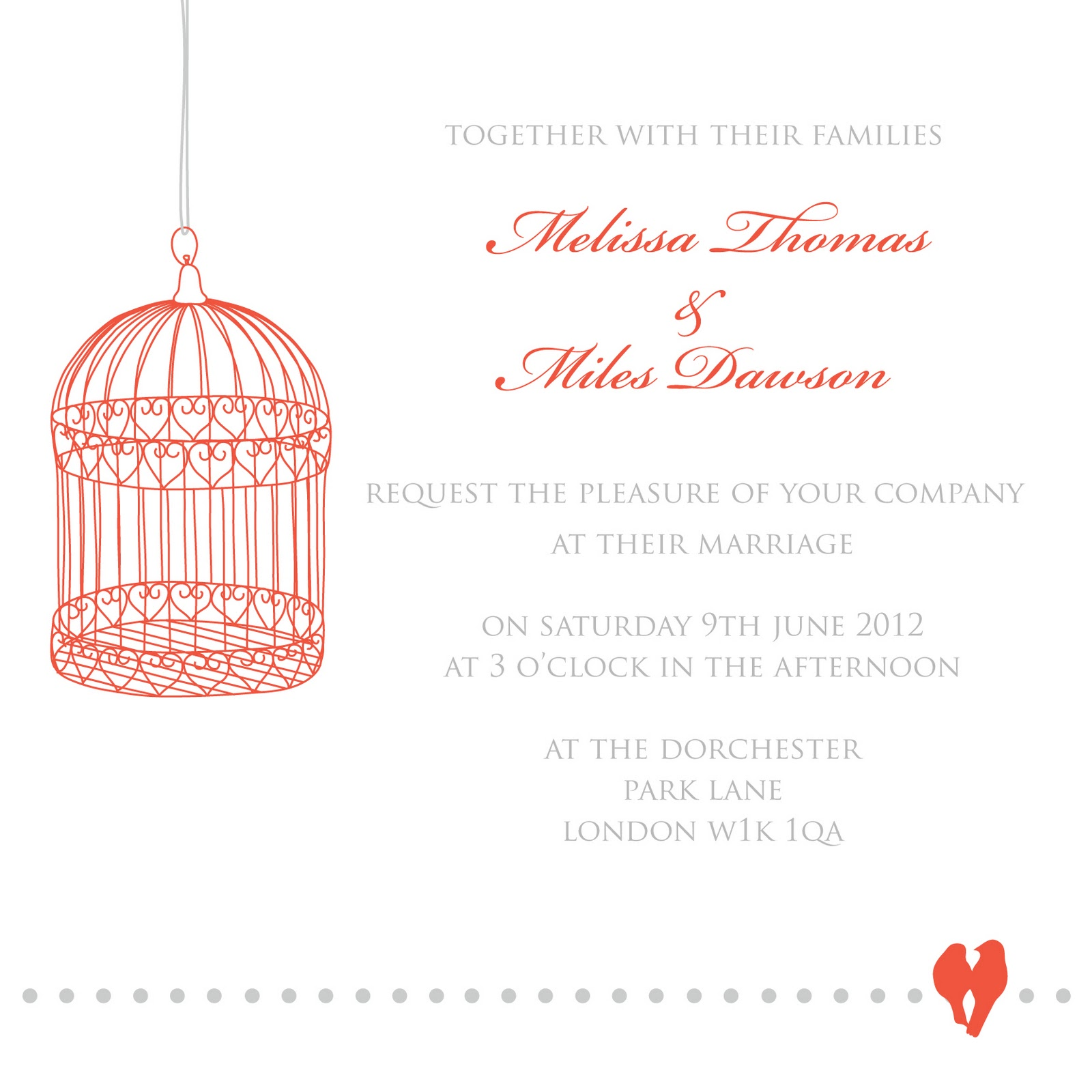 "Wedding Invitation in Pantones Colour of the Year 2012 ""Tangerine ..."