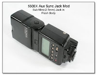 550EX Aux Sync Jack Mod - Sub-Mini (2.5mm) Jack into Flash Body