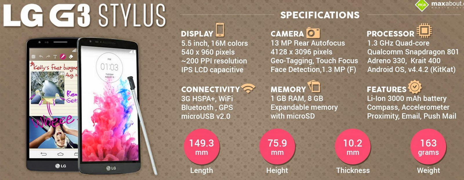 LG G3 Stylus review, new LG G3 Stylus, selfie camera, new android smartphone, Android KitKat, Android 5, Android Lollypop,