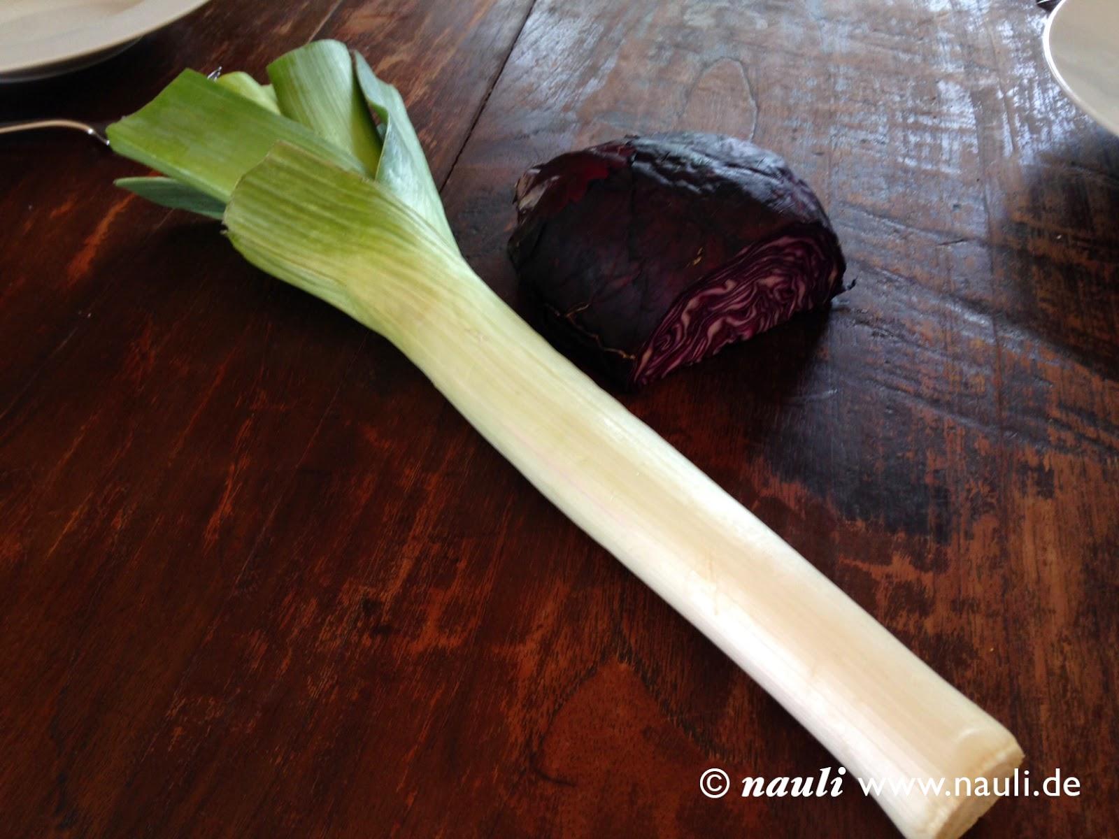 Nauli - Schnelles Kürbis- Rezept - Lauch und Blaukraut