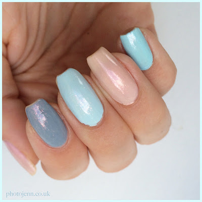 Essie-Cocktail-Bling-Borrowed-and-Blue-Time-For-Me-Time-Mint-Candy-Apple-glitter