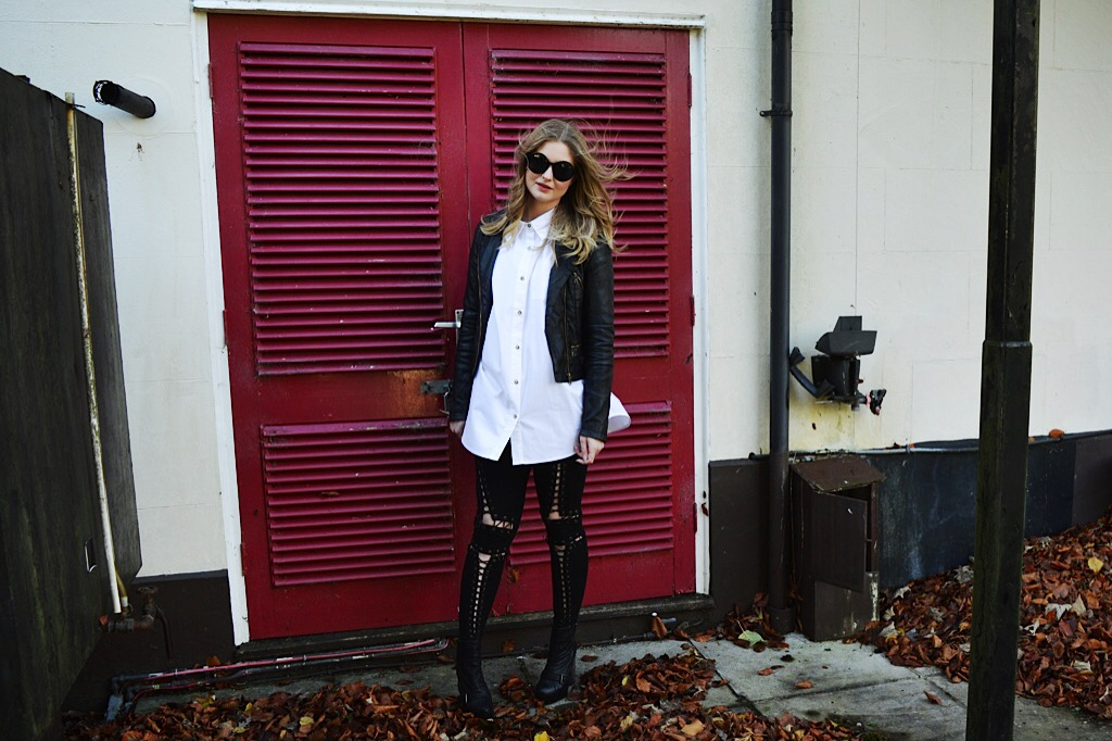 Another8 white boyfriend shirt, FashionFake, fashion bloggers, monochrome style