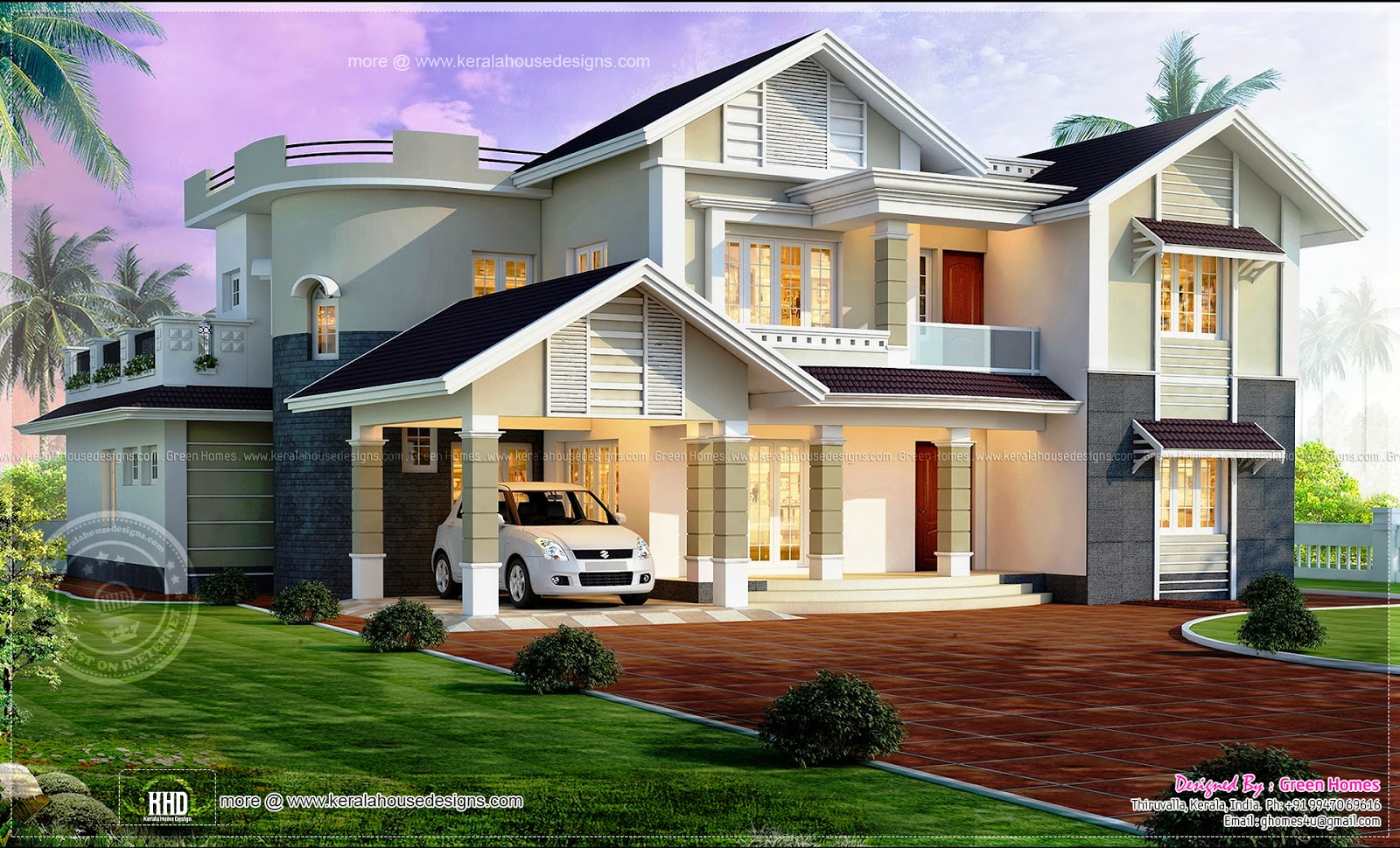 Beautiful 4 bedroom house exterior elevation kerala home for 4 bedroom house plans kerala style architect