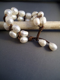 Etsy Leather and Pearl Bracelet