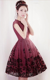 Black Floral Print Lace Double Layer Deep Red Flare Dress