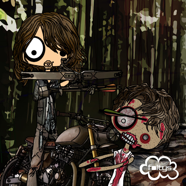 ilustracion original | original illustration foltys vs the walking dead: daryl dixon (tazas, carcasas y libretas | mugs, phone cases and notebooks)