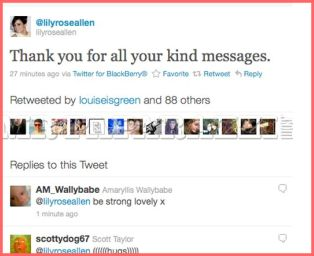 Lily Allen thanks to her fans