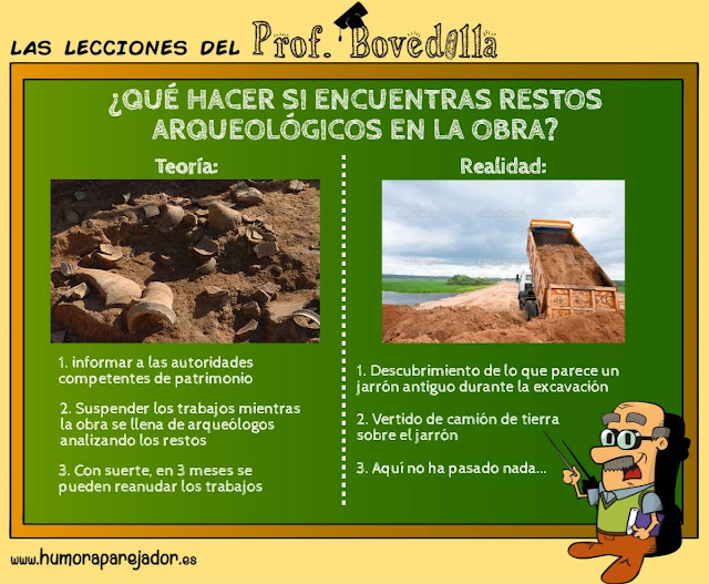 Profesor Bovedilla y las excavaciones