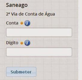 Página para consulta a 2 via Saneago e imprimir