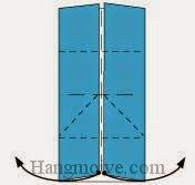 Bước 5: Từ vị trí mũi tên, mở, kéo hai đỉnh lớp giấy trên cùng ra phía bên ngoài