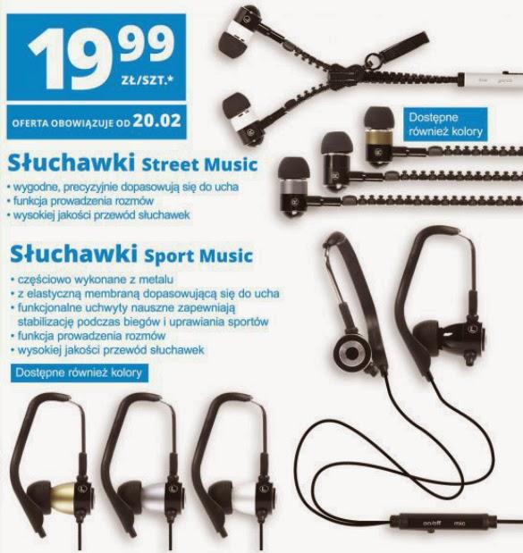 Słuchawki Street i Sport Music z Biedronki ulotka