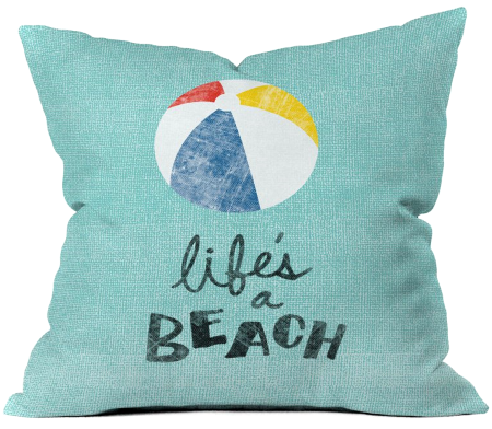 Life's a Beach Quote Pillow with Beach Ball