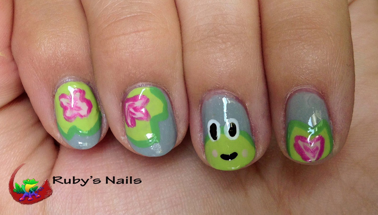 Ruby\'s Nails: Raindrops Frogs