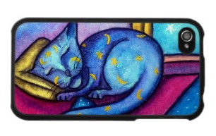 sleeping blue cat iphone 4 case