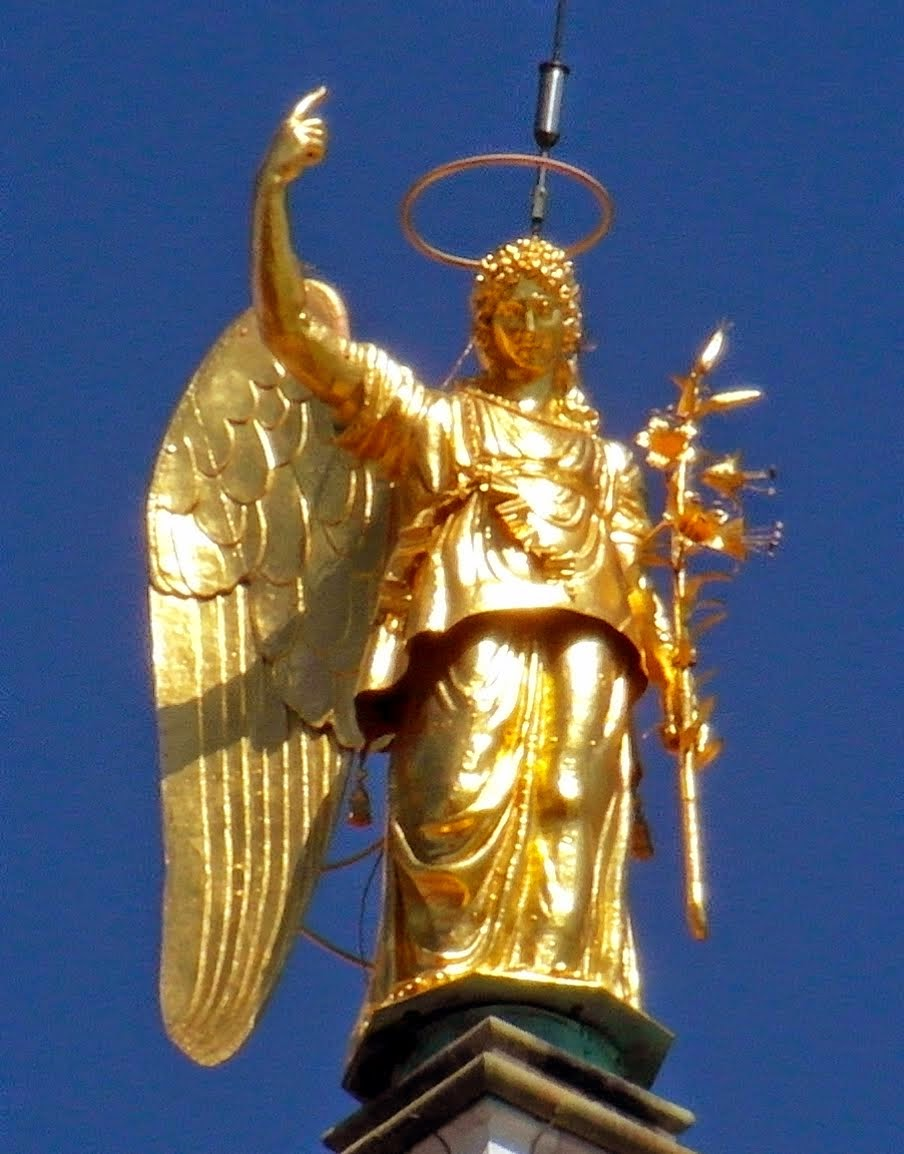 The gilded statue of the Archangel Gabriel, Campanile di San Marco, Venice
