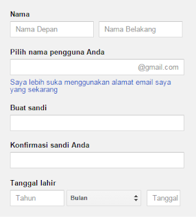 Isi formulir untuk membuat akun Gmail
