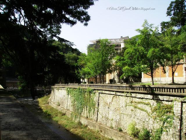 Along Cerna river. Buildings of the old balnear treatment center.