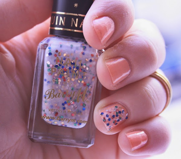 barry m white sequin nail effect