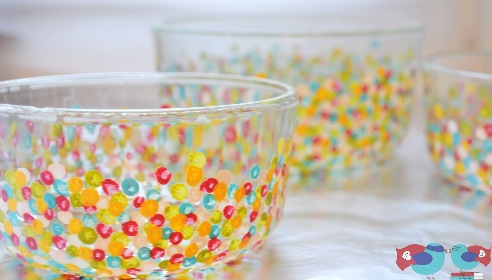 How to hand paint glass bowls with confetti dots the love nerds decorate your own glass vases or bowls with paint floridaeventfo Gallery