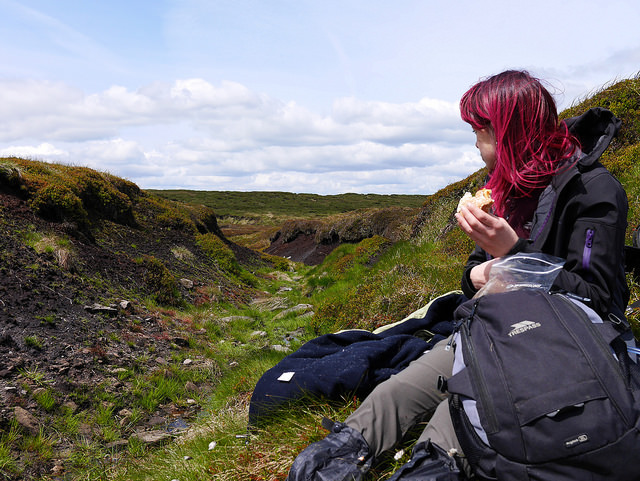 Jennifer Tulip eating a pack up on a walk