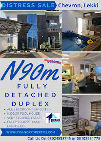 DISTRESS SALES: A 5 Bedroom Fully Detached Duplex With Swimming Pool and Fully Furnished in Lekki,
