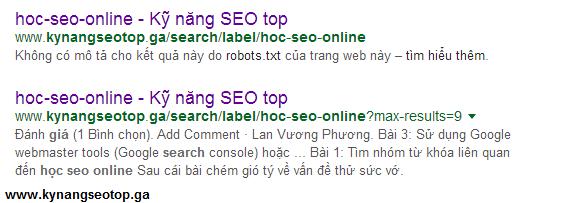 Hiện trên google khi sử dụng file robots.txt mặc định của blogger