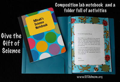 Give the gift of science: Composition notebook & Folder full of activities: STEMmom.org