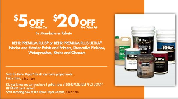Home Depot: $5 Off Any One Gallon Or $20 Off 5 Gallon BEHR Paint Rebate.  Valid 9/1 9/7/11.