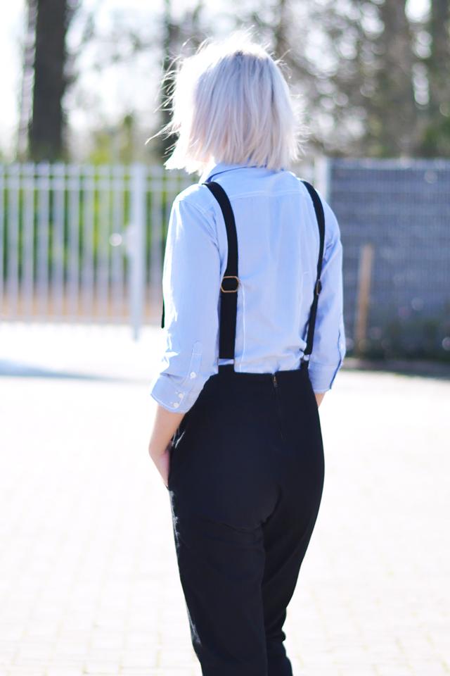 Asos dungarees, 90's, black, denim, striped shirt