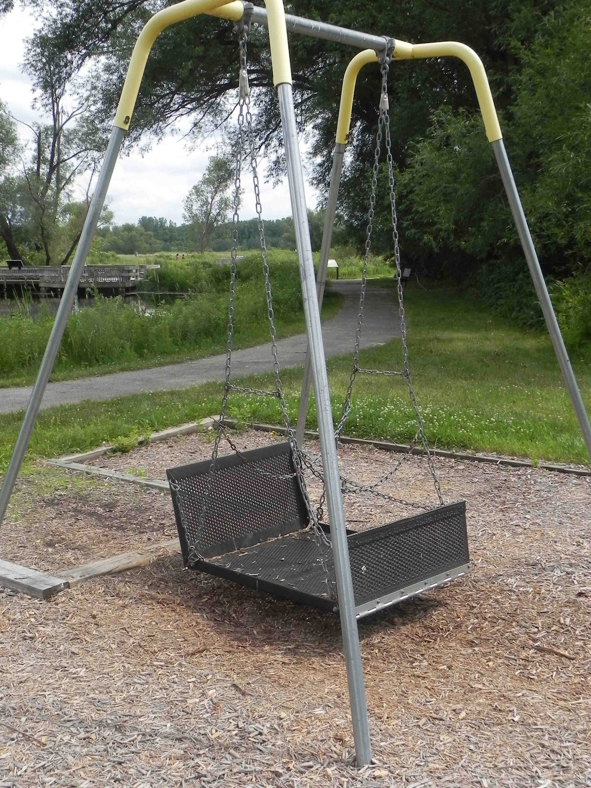 The swings have fold down ends to allow roll on roll off entrance