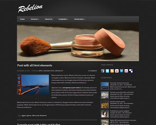 Rebelion WordPress Theme, 1 Right Sidebar, WordPress Theme, Footer Columns, Black, Gray, Fashion, Page Number, Responsive, Latest Features, Gallery Blogger Templates