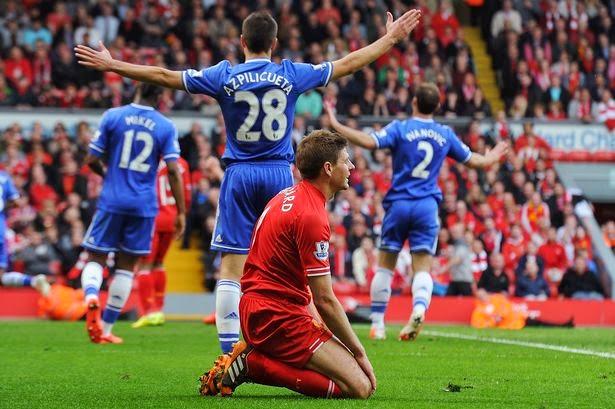 Ekspresi Gerrard saat selesai pertandingan Liverpool vs Chelsea