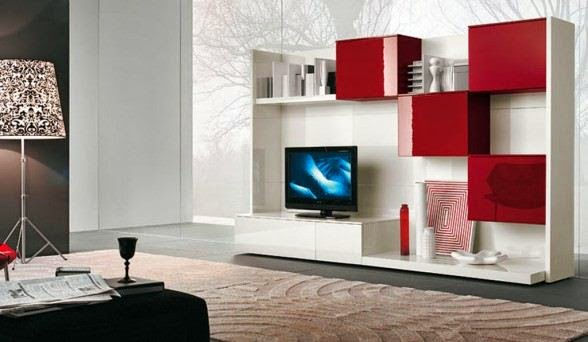 model rak tv minimalis modern empat